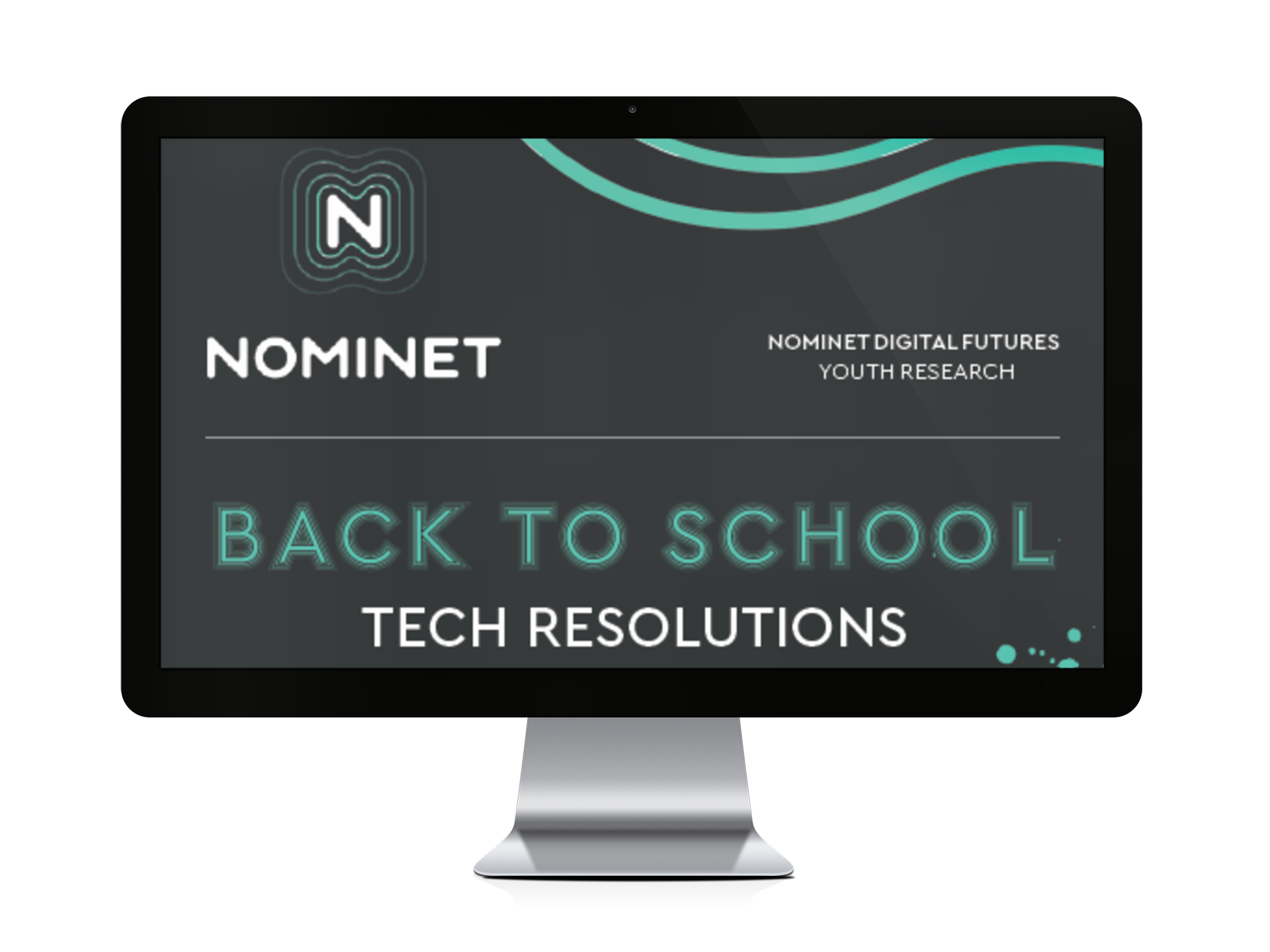 Computer monitor showing 'Back to school tech resolutions'
