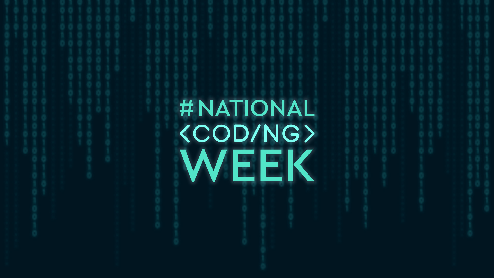 Coding background with the words National Coding Week in highlighted text above